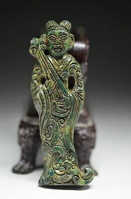Chinese  jade Hand engraving Ancient Musician Statue/Pendant R38