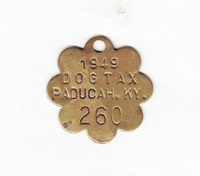 PADUCAH, KY 1949, dog license, tax, tag.