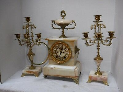 Antique Ansonia Augusta Marble 8 Day Chime Clock Candelabra 3 Piece Set Working