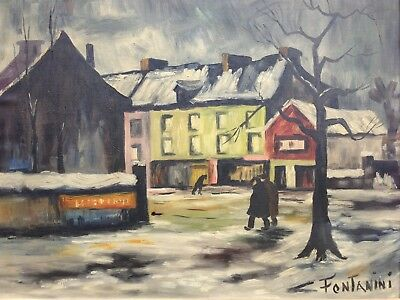 Antique Fine Quality Oil Painting on Canvas Snowy Town Scene Signed