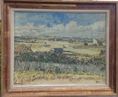 Fine Large Contemporary Lithograph Painting on Board Hayfields