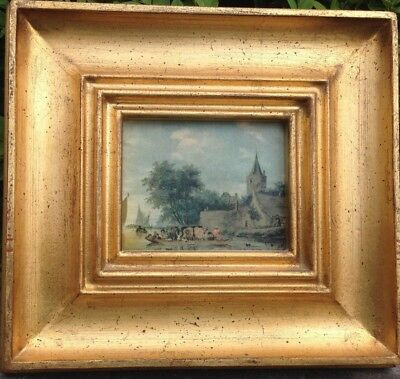 Antique Very Fine Oil Painting on Canvas of Dutch Town Barges 18thC