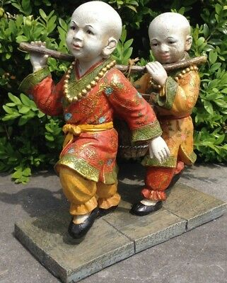 Antique Very Fine Oriental Chinese Asian Children Statues