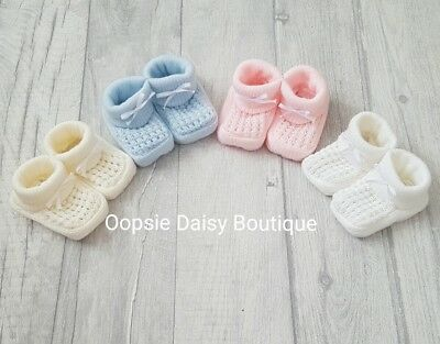 Baby Boys Girls Lovely Soft Knitted Ribbon Slippers Booties ☆