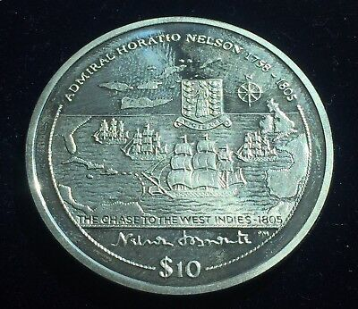 2005 Chase To The West Indies British Virgin Islands Silver Proof $10,COA 28.28g