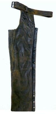 "Harley Davidson Leather Chaps Factory Distressed Brown BILLINGS MEN L 32"" Inseam"