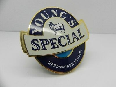 Vintage Collectable Young's Special Wandsworth London Beer Pump Badge And Clip