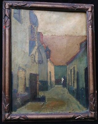 Antique Fine Quality Oriental Asian Street Oil Painting 18th/19thC Canvas