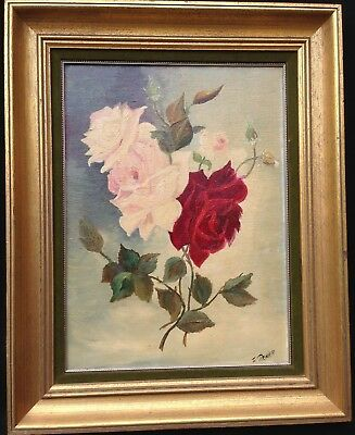 Antique Fine Roses Oil Painting on Canvas Signed 19thC
