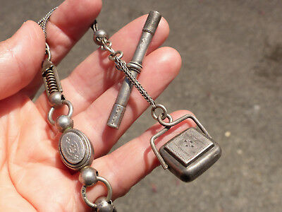 Antique French Hallmarked Solid Silver Albertina Pocket Watch Chain, Fob & T Bar