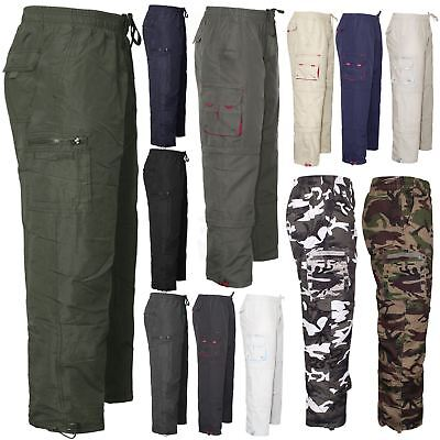 Mens Combat Cargo Elasticated Waist Pants Trousers Casual Thermal Winter Bottoms