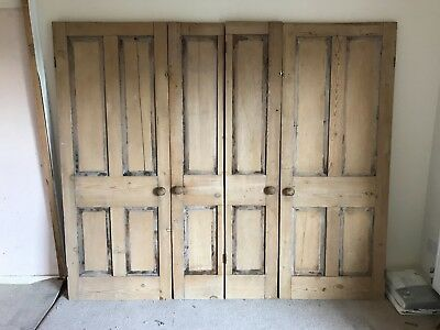 6 x ANTIQUE VICTORIAN 4 PANEL STRIPPED PINE INTERNAL DOORS
