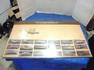 """vintage automobile dealers wall counter display page oldsmobile 1984 36"""" X 21"""""""