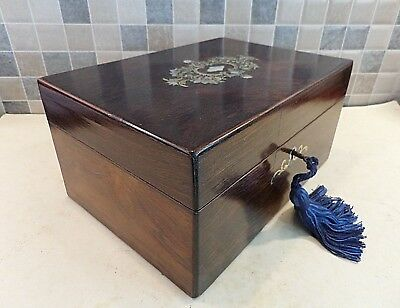 ANTIQUE 19thC FRENCH BOULLE INLAID ROSEWOOD BOX WITH NICE INTERIOR - LOCK & KEY