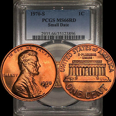 1970-S Lincoln Memorial Cent 1C PCGS MS66RD Small Date