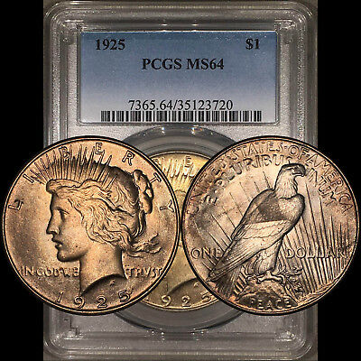 1925 Peace Dollar $1 PCGS MS64 - Colorful EOR End of Roll Toning