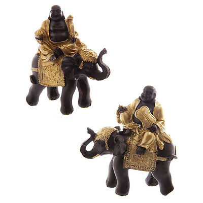 2 Chinese Buddha Riding Elephant Figurines Gold & Brown Ornaments Gift Buddhism