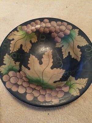 Vintage Large Handpainted Leaves and Grapes Bowl Very Heavy Piece!