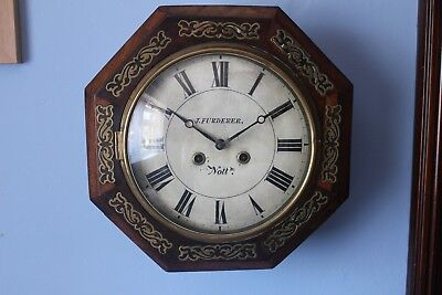 RARE Black Forest Spring Driven Wall Clock. (wood plated movement)
