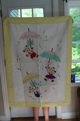 Vintage HANDMADE BABY QUILT  Applique Bears Umbrellas embroidered flowers 36x49