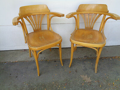 Pair Of Signed Drevounia Czech Bentwood Arm Chairs, Cool, Need Refinished