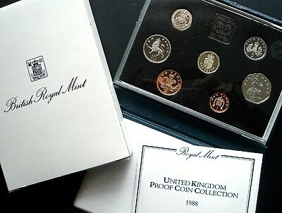1988 United Kingdom Royal Mint Proof 7-pc. Coin Set Original Packaging