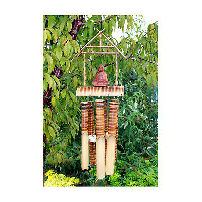 Buddha Bamboo Wind Chime 6 Wooden Tubes Outdoor Garden Ornament Decor Windchime