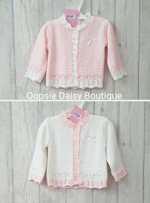 Baby Girls Gorgeous Soft Ribbon Cardigan White & Pink ☆