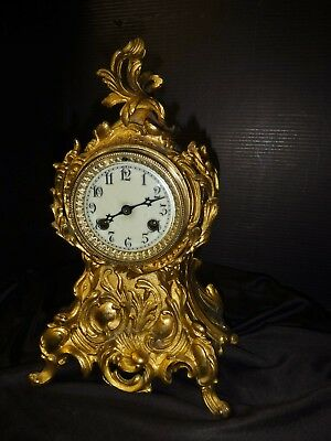 Nice Antique WATERBURY Gilt Rococo MANTLE CLOCK  Porcelain Dial Beveled Glass