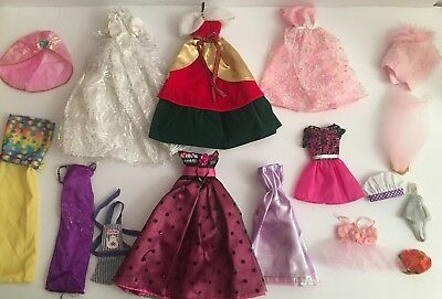 Vintage 1980's - 2000's Lot of Barbie Doll Clothing Clothes Dresses, Hats ++
