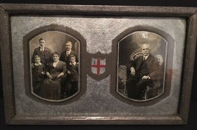 Antique Early 1900's Framed Family Photograph With Crest RARE Collectible Pictur
