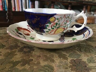Antique 19th Century Gaudy Welsh Cup And Saucer