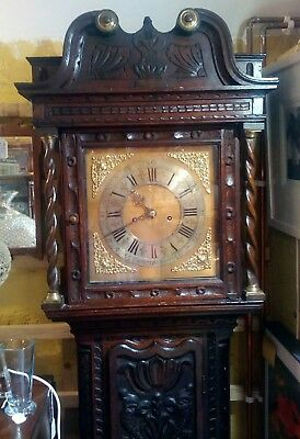 Antique longcase grandfather clock circa 1800s, fully serviced, stunning carving