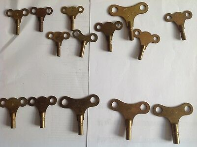 14 Vintage Brass Clock Keys