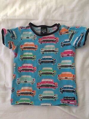 Gorgeous Scandi Villervalla Boys T-shirt with Cars. Size 86.