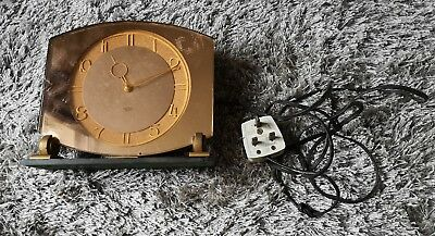 Stylish Vintage Art Deco Style Mantel Clock 1930s/40s peach glass Spares repairs