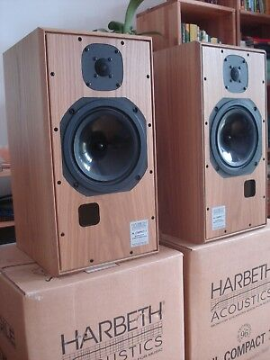 One pair Harbeth HL Compact 7 monitor speakers in oak finish