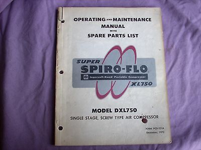 Ingersoll Rand DXL750 Operating and Maintenance Manual with Parts List