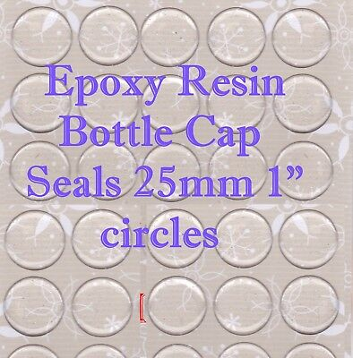"200 Epoxy Resin Stickers 1"" (25mm) CIrcle Clear Dome For Bottle Caps & Cabachons"