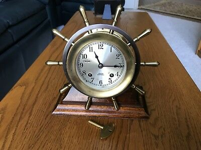 "CHELSEA Ship's Bell  MARINER ""YACHT WHEEL"" SHIP CLOCK ~ Works but read..."