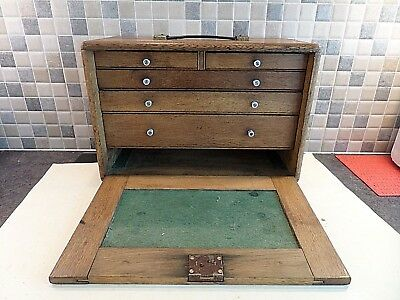 Vintage Solid Oak Engineers 5 Drawer Tool Chest/ Cabinet/ Collectors Box + Key