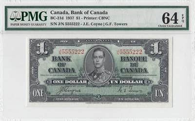 "1937 BANK OF CANADA KGVI $1 **Coyne & Towers** ""5555222"" (( PMG 64 EPQ ))"