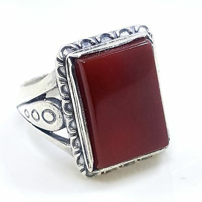 vintage unique 925 sterling silver men ring natural red kapidy yemen agate aqeeq