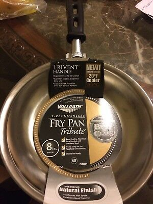 """NEW Vollrath 250930Tribute 8"""" Stainless Steel Fry Pan w/ Silicone-Coated Handle"""