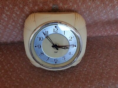 Smiths Sectric Cream Bakelite Electric Wall Clock Vintage Art Deco 1930s
