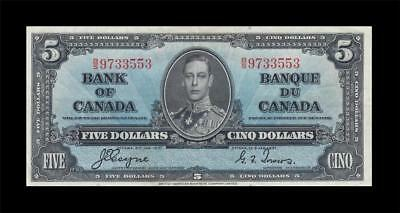 1937 BANK OF CANADA KGVI $5 **Coyne & Towers** (( EF ))