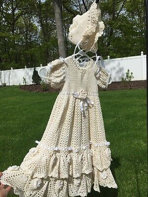 Ornate Tiered Christening Gown & Bonnet Irish Cameo Rose Fancy Crochet STUNNING!