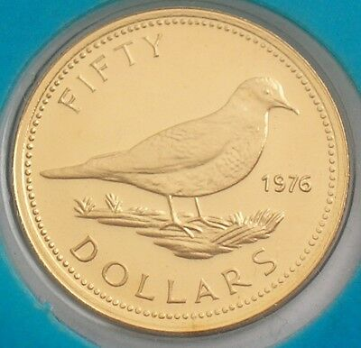 1976 BAHAMAS  BUNC  22ct GOLD  $50 DOLLARS COIN  TOBACCO DOVE  WITH CERTIFICATE