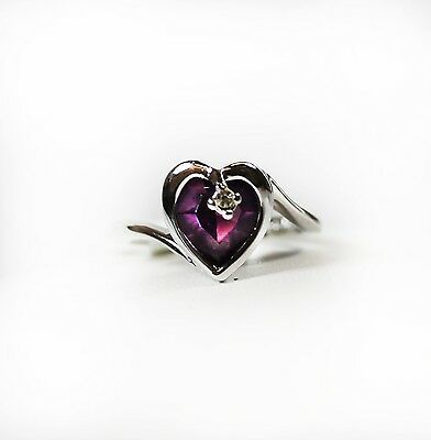 Vintage 1980s USA Amethyst Heart Austrian Crystal Silver Ring New Old Stock 1400