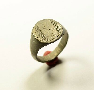 Lovely Roman Bronze Ring With Decorated Bezel - Wearable